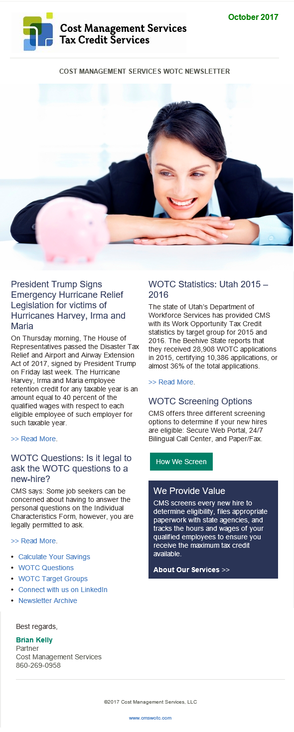 WOTC Customer Newsletter October 2017