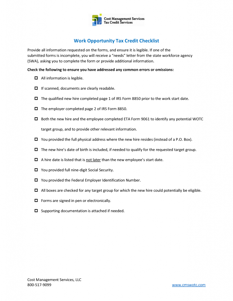 Work Opportunity Tax Credit Checklist