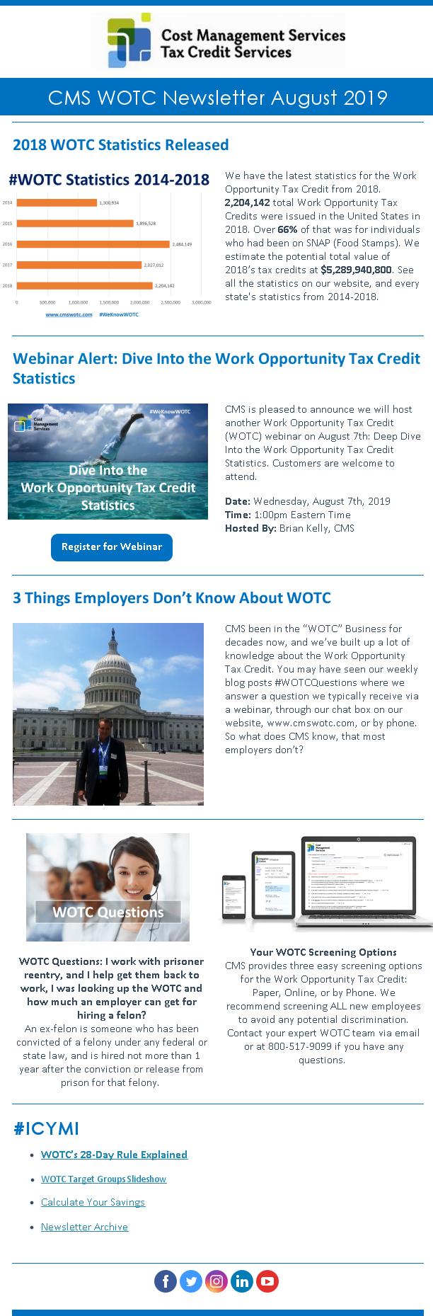 WOTC Customer Newsletter August 2019