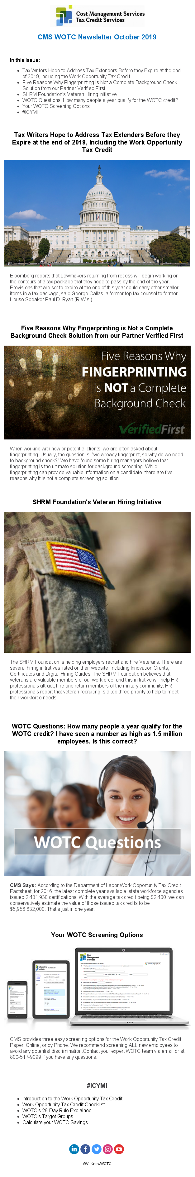 WOTC Newsletter October 2019 Customers