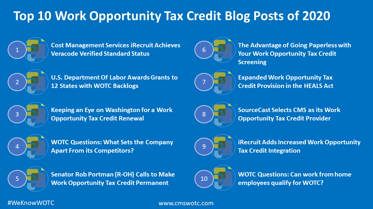 Top 10 Work Opportunity Tax Credit Blog Posts of 2020